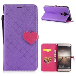 Symphony Checkered Dual Color PU Heart Leather Wallet Case for Huawei Mate9 Mate 9 - Purple