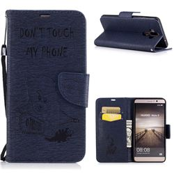 Intricate Embossing Violence Bear Leather Wallet Case for Huawei Mate9 Mate 9 - Sapphire