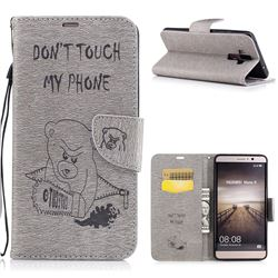 Intricate Embossing Violence Bear Leather Wallet Case for Huawei Mate9 Mate 9 - Gray