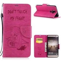 Intricate Embossing Violence Bear Leather Wallet Case for Huawei Mate9 Mate 9 - Rose