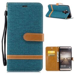 Jeans Cowboy Denim Leather Wallet Case for Huawei Mate9 Mate 9 - Green