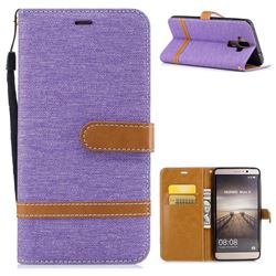 Jeans Cowboy Denim Leather Wallet Case for Huawei Mate9 Mate 9 - Purple