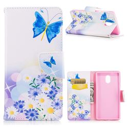 Butterflies Flowers Leather Wallet Case for Nokia 3 Nokia3
