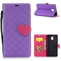 Symphony Checkered Dual Color PU Heart Leather Wallet Case for Nokia 3 Nokia3 - Purple