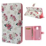 Beautiful Rose Pattern Stand PU Leather Case for Samsung Galaxy Note 4 N910