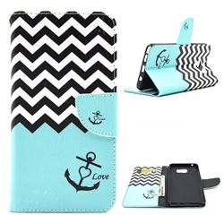 Wave Anchor Leather Wallet Case for Samsung Galaxy Note 5