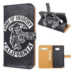 Black Skull Leather Flip Wallet Case for Samsung Galaxy Note 5