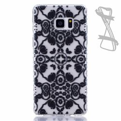 Black Flowers Painted Non-slip TPU Back Cover for Samsung Galaxy Note 7