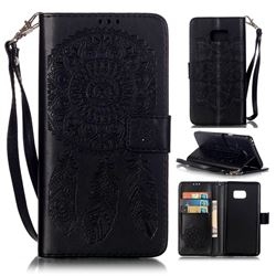 Embossing Campanula Flower Leather Wallet Case for Samsung Galaxy Note 7 - Black