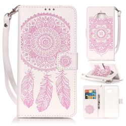 Embossing Campanula Flower Leather Wallet Case for Samsung Galaxy Note 7 - White Pink