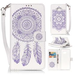 Embossing Campanula Flower Leather Wallet Case for Samsung Galaxy Note 7 - White Purple