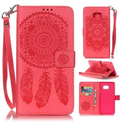 Embossing Campanula Flower Leather Wallet Case for Samsung Galaxy Note 7 - Rose