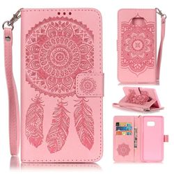 Embossing Campanula Flower Leather Wallet Case for Samsung Galaxy Note 7 - Pink