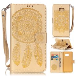 Embossing Campanula Flower Leather Wallet Case for Samsung Galaxy Note 7 - Golden