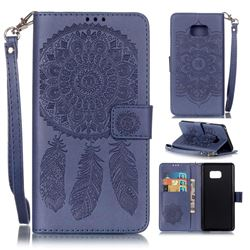 Embossing Campanula Flower Leather Wallet Case for Samsung Galaxy Note 7 - Dark Blue