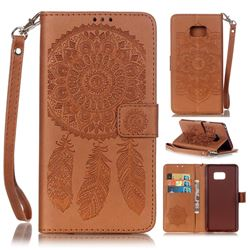 Embossing Campanula Flower Leather Wallet Case for Samsung Galaxy Note 7 - Brown