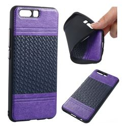 Weave Leather Coated Dual-Color Soft TPU Back Cover for Huawei P10 - Purple + Sapphire