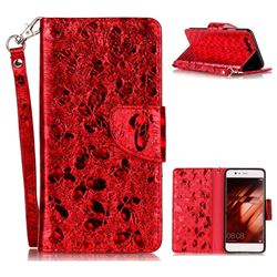 Luxury Laser Butterfly Optical Maser Leather Wallet Case for Huawei P10 - Red