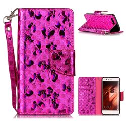 Luxury Laser Butterfly Optical Maser Leather Wallet Case for Huawei P10 - Rose