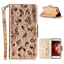 Luxury Laser Butterfly Optical Maser Leather Wallet Case for Huawei P10 - Golden
