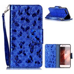 Luxury Laser Butterfly Optical Maser Leather Wallet Case for Huawei P10 - Blue