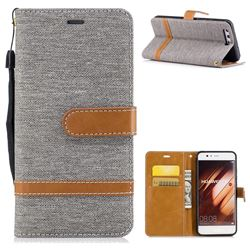 Jeans Cowboy Denim Leather Wallet Case for Huawei P10 - Gray