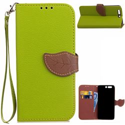 Leaf Buckle Litchi Leather Wallet Phone Case for Huawei P10 - Green