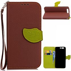 Leaf Buckle Litchi Leather Wallet Phone Case for Huawei P10 - Brown