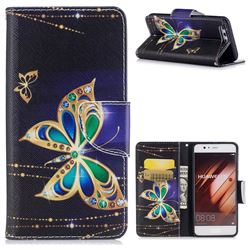 Golden Shining Butterfly Leather Wallet Case for Huawei P10