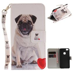 Pug Dog Hand Strap Leather Wallet Case for Huawei P10 Lite P10Lite