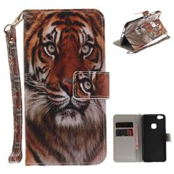 Siberian Tiger Hand Strap Leather Wallet Case for Huawei P10 Lite P10Lite