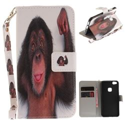 Cute Monkey Hand Strap Leather Wallet Case for Huawei P10 Lite P10Lite