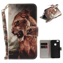 Majestic Lion Hand Strap Leather Wallet Case for Huawei P10 Lite P10Lite