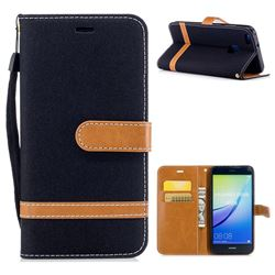 Jeans Cowboy Denim Leather Wallet Case for Huawei P10 Lite P10Lite - Black