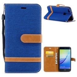 Jeans Cowboy Denim Leather Wallet Case for Huawei P10 Lite P10Lite - Sapphire