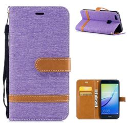 Jeans Cowboy Denim Leather Wallet Case for Huawei P10 Lite P10Lite - Purple