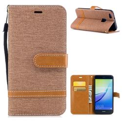 Jeans Cowboy Denim Leather Wallet Case for Huawei P10 Lite P10Lite - Brown