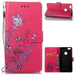 Embossing Narcissus Butterfly Leather Wallet Case for Huawei P10 Lite P10Lite - Rose