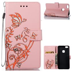 Embossing Narcissus Butterfly Leather Wallet Case for Huawei P10 Lite P10Lite - Pink