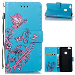 Embossing Narcissus Butterfly Leather Wallet Case for Huawei P10 Lite P10Lite - Blue