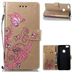 Embossing Narcissus Butterfly Leather Wallet Case for Huawei P10 Lite P10Lite - Golden