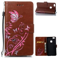 Embossing Narcissus Butterfly Leather Wallet Case for Huawei P10 Lite P10Lite - Brown