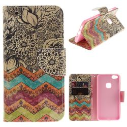 Wave Flower PU Leather Wallet Case for Huawei P10 Lite P10Lite