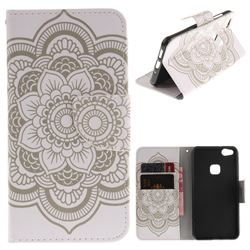 White Flowers PU Leather Wallet Case for Huawei P10 Lite P10Lite