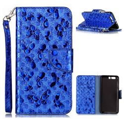 Luxury Laser Butterfly Optical Maser Leather Wallet Case for Huawei P10 Plus - Blue