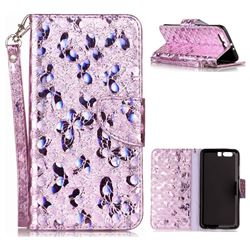 Luxury Laser Butterfly Optical Maser Leather Wallet Case for Huawei P10 Plus - Purple