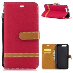 Jeans Cowboy Denim Leather Wallet Case for Huawei P10 Plus - Red