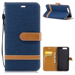 Jeans Cowboy Denim Leather Wallet Case for Huawei P10 Plus - Dark Blue
