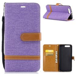 Jeans Cowboy Denim Leather Wallet Case for Huawei P10 Plus - Purple