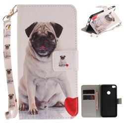 Pug Dog Hand Strap Leather Wallet Case for Huawei P8 Lite 2017 / P9 Honor 8 Nova Lite